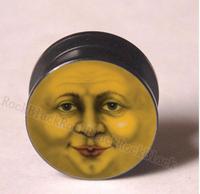 Vintage Moon face Acrylic screw  tunnel plug ear plug flesh tunnel mixing sizes body jewelry  YG008111