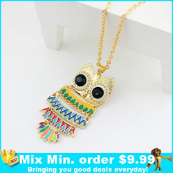 Min.order is $9.99 (mix order) Wholesale Drop Colourful Owl Sweater Necklace Jewelry(China (Mainland))