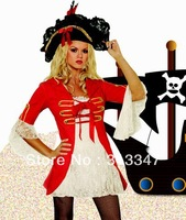 Devil Girl pirate Sexy Halloween Costume Skirt dress sexy clubbing wear Night wear red black Free Shipping Fast Delivery YH1168