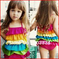 Free Shipping Hot-Selling Rainbow Child Swimwear One-piece Dress Swimwear Girl Bikini Swimwear + swim cap