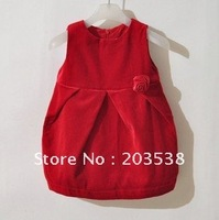 Free shipping 2012 Girl Dress With Rose Children Dress Baby Girl Dress For S&A 1pcs/lot The best gift for the Child
