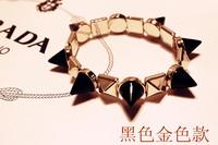 Free Shipping 2013 New Arrivals Gold Punk glossy stub bangles bracelet Rock Spike rivet Bracelet Pyramid Stud Bracelet
