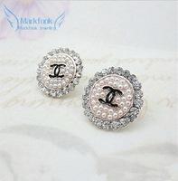 Min Order $ 15(Mix Order) Free Shipping 2013 New Punk Simulate-Pearl Round Earrings Stud Rhinestone Girl Fashion Jewellry WY09