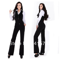 Free Shipping 2013 New Fashion Halter Jumpsuits For Women Bib Pants Ruffles Overalls Office Ladies Black Jumpsuit And Rompers