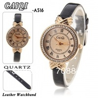 CaiQi Women's Quartz Wrist Watch with Water Resistant Round Shaped Dial 8mm Black Leather Band