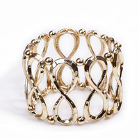 B016T  fashion metal punk geometry elastic cutout retro finishing gold elastic bracelet TC-4.99 20D