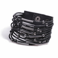 B145T  fashion black punk leather beaded metal mix match leather popper bracelet TC-4.99
