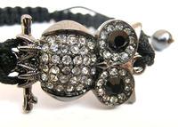 Christmas Valentines Gift Shamballa ball Rhinestone beads woven rope charm bracelet owl charm bracelet crystal bracelet jewelry