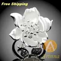 Arinna jewelry Flower Ring 18K Gold Plated silvery rhinestone austrian flower  Ring fashion  jewelry for  women J1821