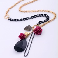 N064T Fashion accessories rose drop heart pendant women's necklace long necklace TN-7.99
