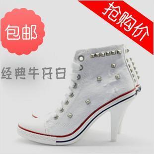Mg . ash white denim canvas sports type high thin heels rivet high-top shoes casual shoes women
