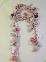 Crochet Scarf spring flower chain natural colors, crochet vintage scarf, vintage jewelry 2pcs/lot