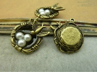 20pcs 7x20x25MM Antique Bronze Alloy Bird's Nest Jewelry connection Jewelry  Making Charms Pendant