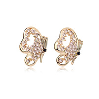 Free shipping Elegant Butterfly Crystal Stud Earrings With SWA Elements Austrian Crystal