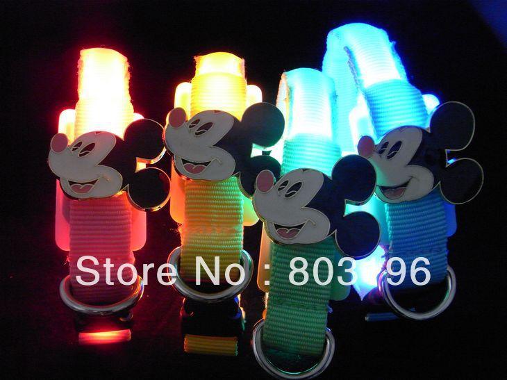 Free shipping Pet Cat Small Dog Mickey Mouse Hello Kitty LED Flashing Dog Collars Puppy Collars 18-28CM(China (Mainland))