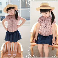 2013 New Baby girl summer clothes set (Black dot with short sleeves T-shirt+skirt ) kid's 2pcs set,Girls' summer leisure suit