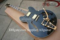 custom shop black 335 jazz Hollow Bigsby Tremolo electric guitar gold hardware