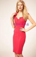 Summer vintage brief patchwork short-sleeve slim hip plus size ol elegant fashion one-piece dress watermelon red