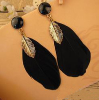 E001T  black feather gem stone and gold leaf 2013 fashion drop earring earrings for women   TJ-3.49 40D
