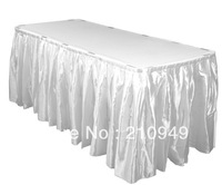 free shipping 10pcs 21ft. polyester table skirt for wedding table skirting designs for wedding banquet table skirting