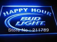 b0501-b Bud Light Happy Hour Neon Light Sign.
