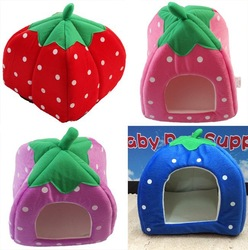 NEW Wholesale 1PCS Soft Sponge Strawberry Pet Dog Cat Bed Houses Lovery Warm Doggy Kennel 3 SIze 4 Colors Available(China (Mainland))