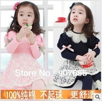 2013 Baby Girl princess dresses with pearl lapel, Children lace dress long sleeve, Free shipping