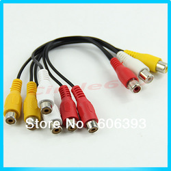 New 3 RCA Female Jack to 6 RCA Female Plug Splitter Audio Video AV Adapter Cable Free Shipping(China (Mainland))