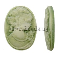 Free Shipping!!! 200PCs/Lot Green Oval Nice woman face Cameo Resin Cabochons 18x25x4.5mm for Jewelry & Mobilephone Wholesale HOT