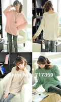 1pc Free Shipping New Style Ladies Batwing Round Neck Knitted Pullover Jumper Casual Loose Long Sweater 4colors  650461