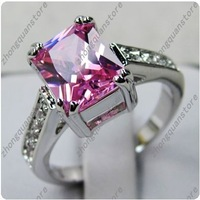 lovely Jewellery   pink sapphire lady's 10KT white Gold Filled Ring sz9/8   1pc freeshipping
