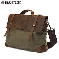 Hot Sale! Man casual bag fashion vintage  Canvas Leather male handbag cross-body cowhide  shoulder bag