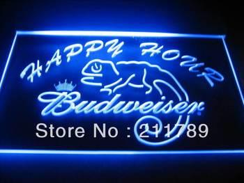 b0512-b Budweiser Lizard Happy Hour Bar Neon Light Sign