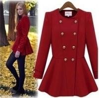 2012 winter new arrival woolen outerwear slim women's wool coat medium-long double breasted outerwear
