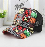 2DESIGN plaid casual for men women colorful patterned baseball mesh cap trucker hockey hat hiphop hippie party costume domo kun