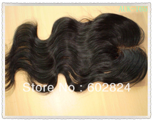 Malaysian Virgin Hair middle part Lace Top Closure pieces 4by4 DHL Free Shipping(China (Mainland))