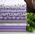 Free shipping ! New attractive purple heart vine and flower printed patchwork fabric,45x45cm high quality textile 24pcs