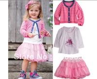 Wholesale free shipping (5set/lot) autumn cute baby girl long sleeve striped coat+t-shirt+tutu skirt 3pieces suits set