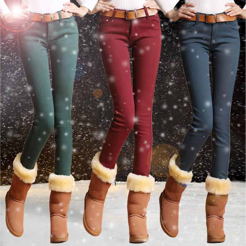 плюс бархат узкие брюки эластичные плюс