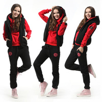 2012 autumn and winter women casual long trousers vest sports set sweatshirt piece set thickening female