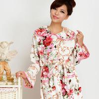 Free Shipping Elegant flower winter coral fleece women's thickening robe sleepwear lounge quality guarantee