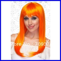 Free shipping Bright Orange Wig with Bangs 2013 Women Fashion Party Wigs Whlesale 10pcs/lot Costume Wigs Funny 0195