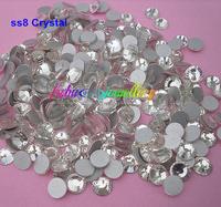 Free Shipping! 1440pcs/Lot, ss8 (2.3-2.5mm) Crystal / Clear Flat Back Nail Art Non Hotfix Rhinestones