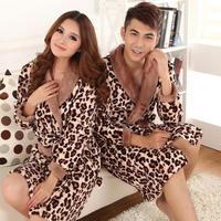 Free Shipping Sexy leopard print lovers sleepwear thickening coral fleece autumn and winter robe sleepwear lovers lounge