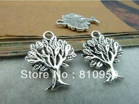 100pcs/lot 16x22mm  Metal/Alloy Antique Silver Tree Charm Pendant Jewelry connection DIY Fashion Jewelry settings Finding