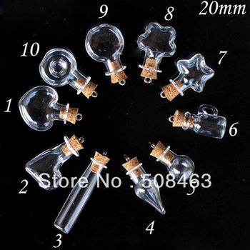Free shipping !!! 30pcs/lot mixed design cork glass Bottle Perfume essential oil vial pendant mini glass bottle
