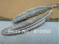 12pcs 10x105mm  Metal/Alloy Antique Silver Big feather Vintage Charms Pendant Jewelry connection DIY Base settings Finding
