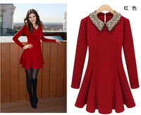 [F-602] 2013 early spring and new sequins doll collar waist wool dress