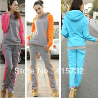 Free Shipping 2013 Sport Suits Women Of The Cotton Plus Size Hoodies Thick Winter Sweatshirt With Fleece Casual Sportswear Set