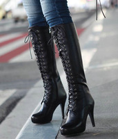 Lace Up High Heel Platform #6-99 Real Leather Knee High Motorcycle/Ridding Boots,US 4-10.5,Womens/Ladies Shoes